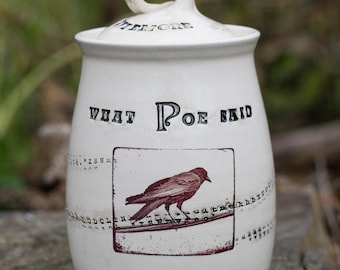 White Edgar Allan Poe Inspired Spirit Jar by Bunny Safari