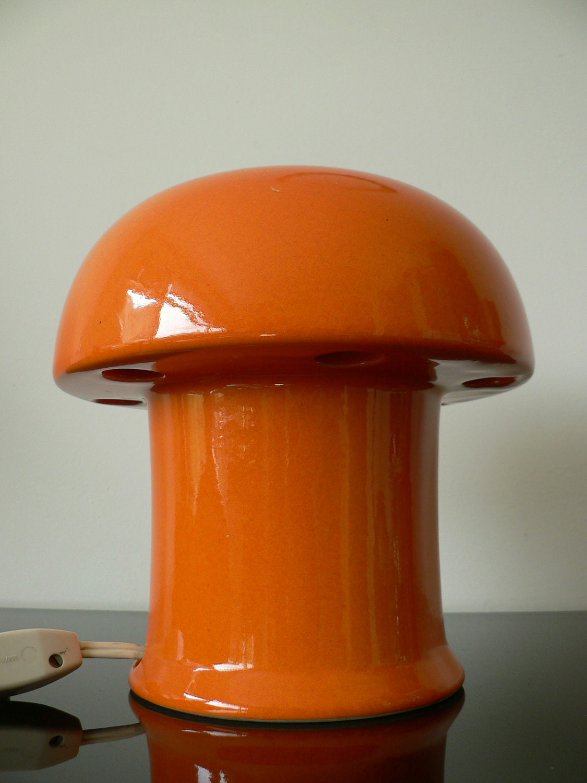 Vintage 1960s Orange Ceramic Lamp Dutch Design Retro