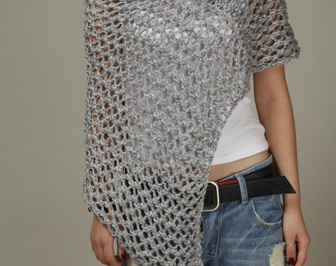 Hand knit Little cotton poncho grey knit scarf knit shrug-ready to ship