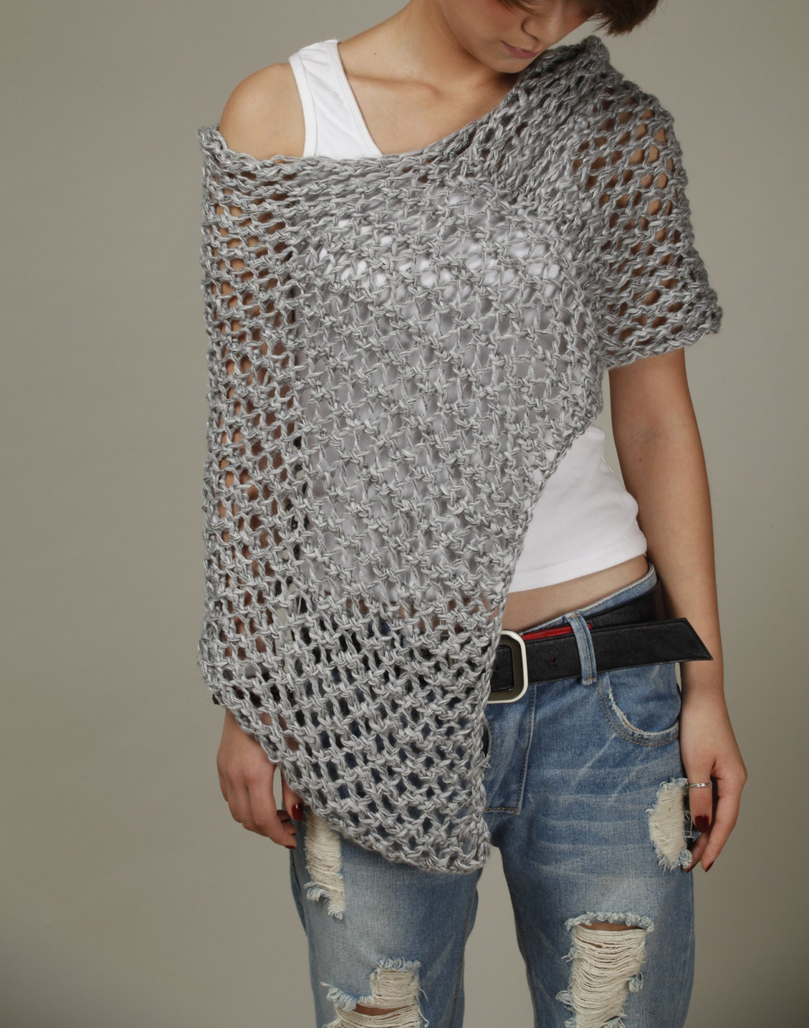 Knitting Ponchos : Hand knitted little cotton poncho grey knit scarf