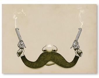 Wall Art, Handlebar Mustache, Pistol, Guns, Western, Print,  Home Decor, 18 x 24