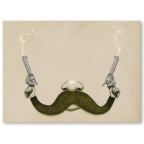 Wall Art, Handlebar Mustache, Pistol, Guns, Western, Print,  Home Decor, 18 x 24