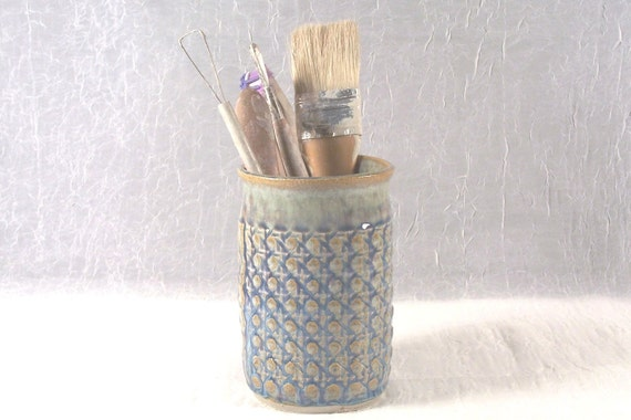 Reserved for Ashley     Ceramic Utensil Holder Cup with Blue Purple Caning Pattern Wheel Thrown Stoneware Ceramics Pottery
