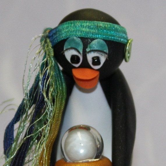 Fortune Teller Penguin Esmeralda Glow in the Dark Crystal Ball