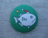 Christmas Fish brooch/pin (linen)