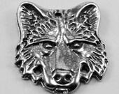 Wolf Head pendant  1 bail Australian Pewter AF311
