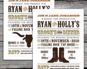 Western Chic Groom's Dinner Invitation. Option to Print.