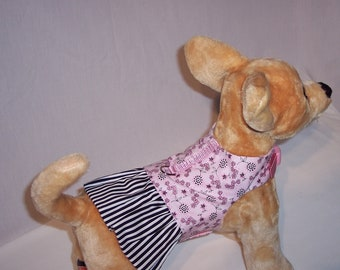 PET HARNESS DRESS Pink and Black with Stripe Skirt