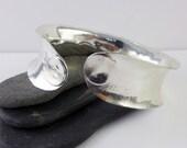 Sterling silver Cuff, anticlastic bangle  - Silver Relic -