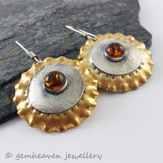 Sterling silver tribal earrings with brass and amber cabochon - Gladiatrix XVI -