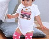 Vintage TYPEWRITER  Baby GIRL Bodysuit  0-24 Months