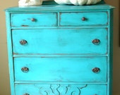 Antique shabby chic painted dresser turquoise blue distressed paint