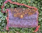 Shoulder bag: Bohemian handbag purse, tribal rustic alpaca wool beaded, purple brown plum rust lined bag boho Bohemian beaded medium i904