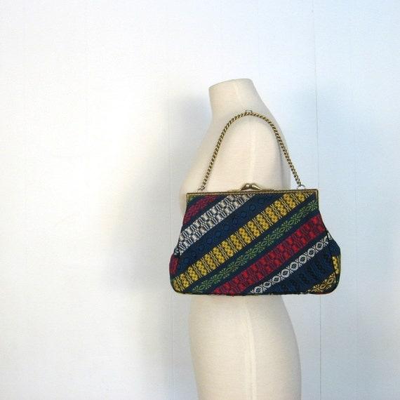 Vintage Ikat Bag / Ikat Weave Purse / Primary Colors