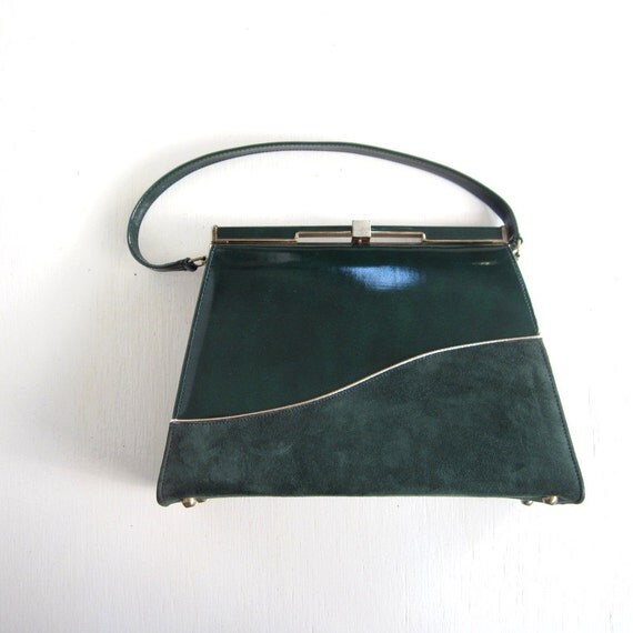 Vintage 1960s Handbag / Forest Green / 60s Purse / Air Step Handbag