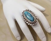 Vintage Silver Turquoise Ring Adjustable band