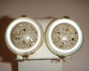 Vintage White and clear Clip on Earrings Gold tone