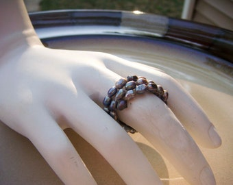 Faux Gray Pearl Memory Wire ring