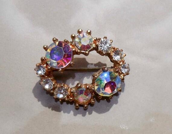 Vintage aurora borealis AB rhinestone brooch