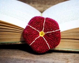 Handmade Crochet Flower Bookmark Red Morning Glory