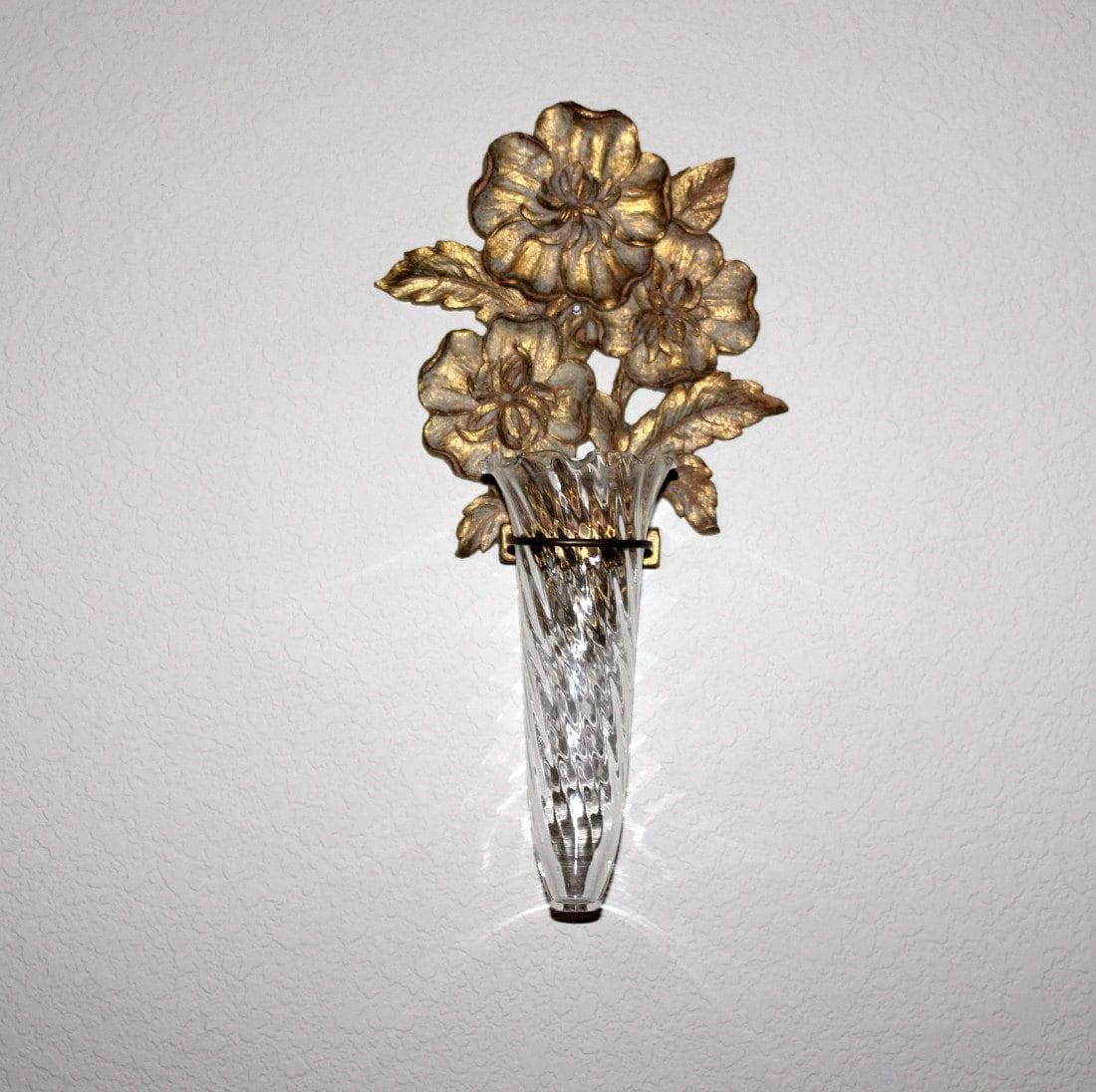 Vintage Syroco Wood Gold Wall Sconce Bud Flower Vase Holder
