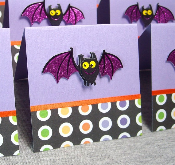 Halloween Bats Blank Note Cards WITH Envelopes 3x3 (8)