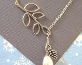 Branch Necklace, Pine Cone Necklace, Twig, Pine Cones, Branch Lariat, Leaf Necklace, Pearl Necklace, Winter Wedding, Silver Branch Larait