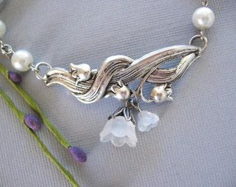 SALE Lily of the Valley Bracelet, Lily Bracelet, Silver Bracelet, Flower Bracelet, Bridesmaid, Flower Girl, White Pearl Bracelet, Weddings