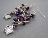 Beaded Dangle Earrings - Celestial Star Charms Purple by randomcreative on Etsy