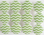 Green Chevron Knobs, Green Pattern Drawer Knobs, Apple Green Knobs, Wood Knobs-1 1/2 Inches -Choose your quantity - Made-to-Order