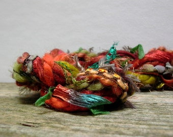 fall foliage fringe effects™  21yds of specialty art yarns fiber bundle . burnt orange rust moss leaf green copper teal