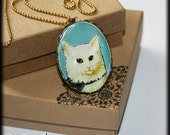 White Cat Pendant Necklace with Brass Frame Cat jewelry