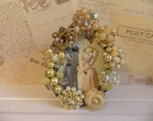 Yellow Rhinestone Embellished Vintage Jeweled Picture Frame