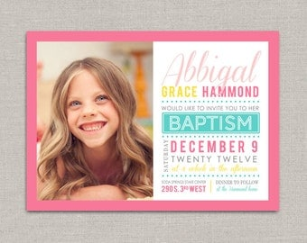 LDS Baptism Invitation - Abbigal