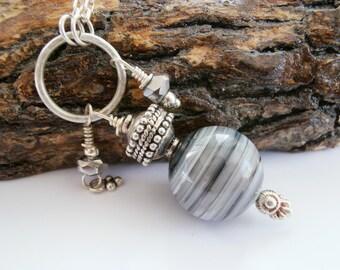Constellation Saturn Necklace stone onyx marble sterling silver - Sterling Silver Onyx Necklace