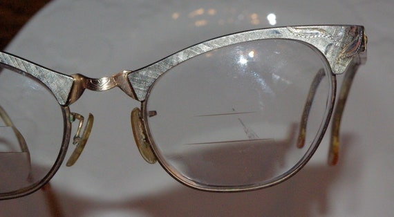 Fab 50s ETCHED ALUMINUM  Cat EYEGLASSES by Art Craft .