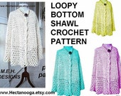 shawl, CROCHET PATTERN..243... Loopy Bottom Shawl,  requires 2 skeins of yarn