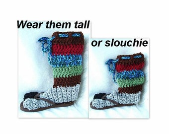 SLIPPERS - WINTER Slippers, cold weather, boot style, outdoor, clothing, adult, footwear, accessories, Crochet Pattern 472B
