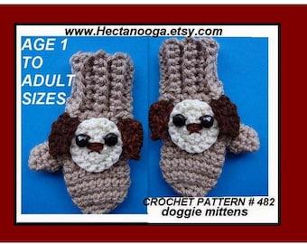 CROCHET PATTERN, Crochet MITTENS, dog mittens, basic mittens, childrens, kids, clothing, teens, adult, num. 482,