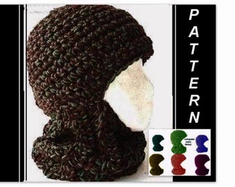 Crochet PATTERN - Hat ,  Women, men, unisex, ski mask,  #26 BALACLAVA,   adult, teen and youth. instant digital download  Chunky Style....