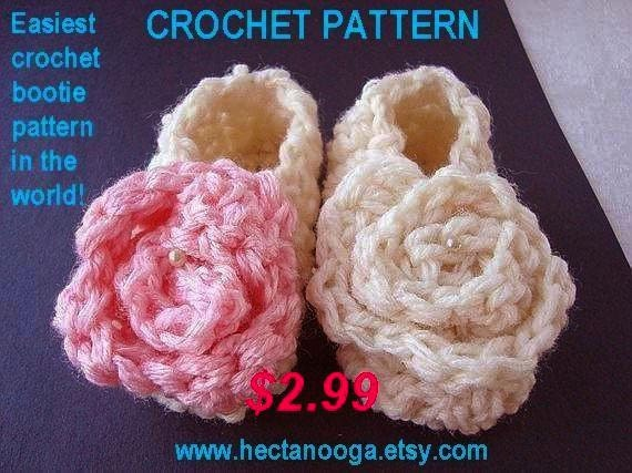 CROCHET PATTERN supplies  num 64, booties, 15 Minute Booties   Easiest Bootie Pattern in the World,  Beginner level.