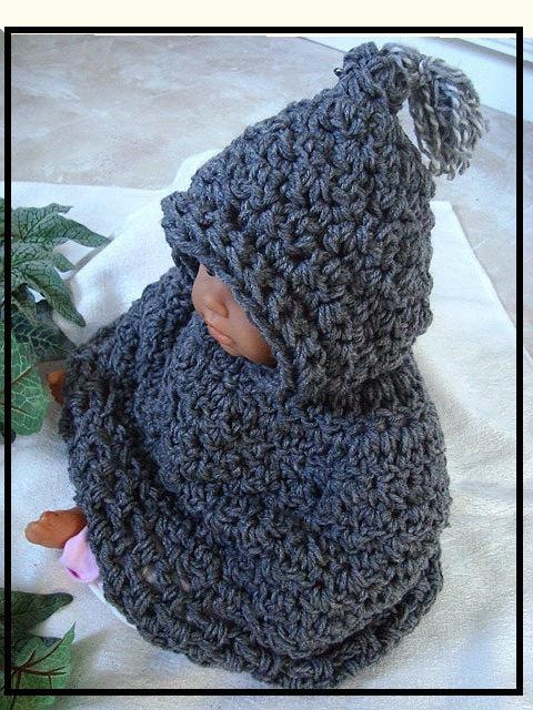 Crochet Pattern baby hooded cape newborn to age 5 num. 523