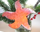 Starfish Ornament Christmas Ornament, Xmas Tree Decoration Copper, Metal Ornament, Nautical Beach Decor, Holiday Decor, Cottage Wall Hanging