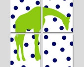 Giraffe Nursery Decor - Polka Dots, Jungle, Safari, Animal Art - Set of Four 11x14 Prints - CHOOSE YOUR COLORS