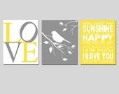 Modern Nursery Art Trio - Set of Three 8x10 Prints - You Are My Sunshine, Love, Bird on a Branch - CHOOSE YOUR COLORS