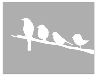 Birds on a Branch - Nursery Art - 8x10 Silhouette Print - CHOOSE YOUR COLORS - Shown in Pink, Yellow, Gray, Blue, and More