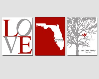 Modern Newlywed Trio - Set of Three 8x10 Customizable Prints - Love, Family Established Bird Tree, State Silhouette Map - GREAT WEDDING GIFT