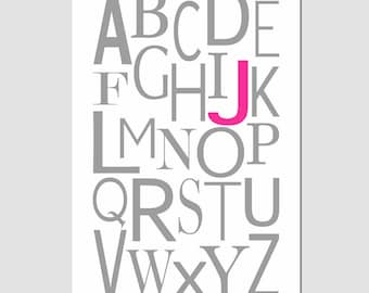 Modern Alphabet Initial Monogram Print - 13x19 - Wall Art for Nursery or Playroom - Customize With Your Initials - CHOOSE YOUR COLORS