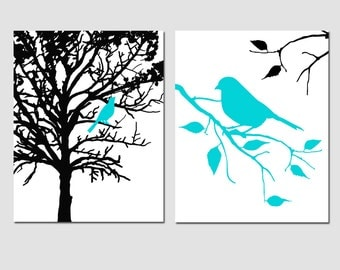 Set of Two 11x14 Prints - Birds and Trees - Perfect for Bathroom, Nursery, Kitchen - Choose Your Colors - Shown in Aqua, Black, White