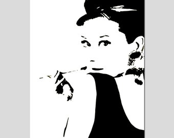 Audrey Hepburn - 13x19 Large Scale Silhouette Image Print - Choose Your Colors - Shown in Black, Gray, Hot Pink, Pink, and More